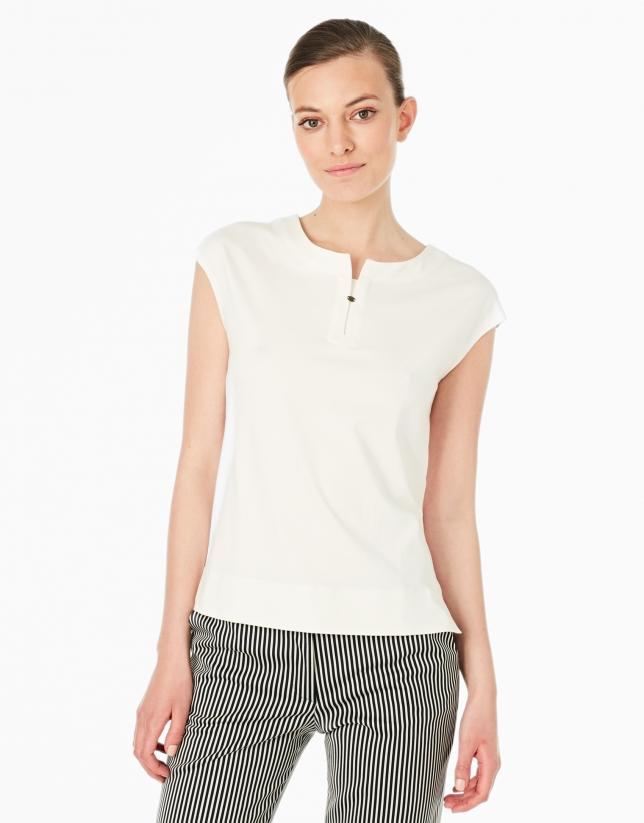 T-shirt sans manches couleur crème