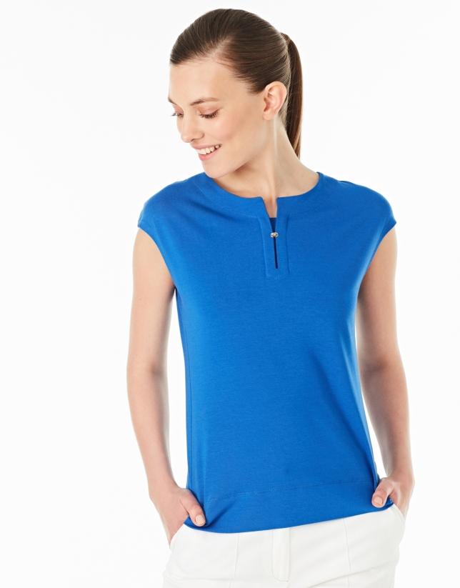 Cobalt blue-colored sleeveless top