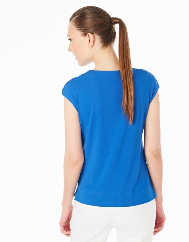 Camiseta sin mangas azul cobalto