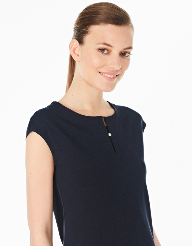 Navy blue-colored sleeveless top