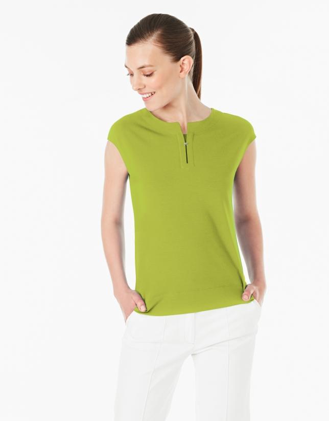 Camiseta sin mangas verde pistacho