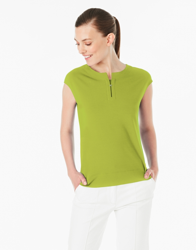 Pistachio green-colored sleeveless top
