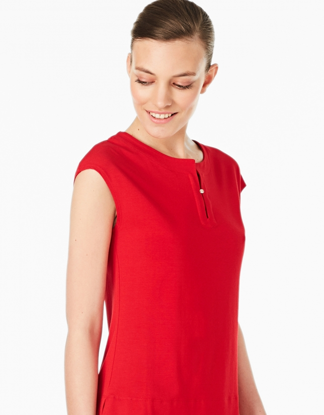 Red-colored sleeveless top