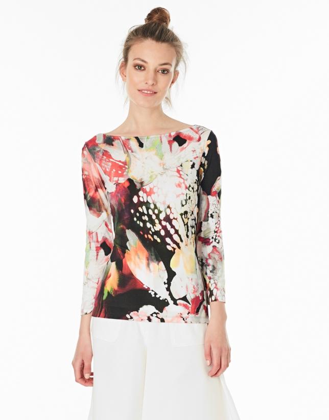Camiseta manga larga flores granate