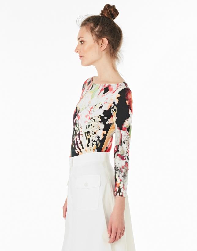 T-shirt à manches longues grenat à fleurs