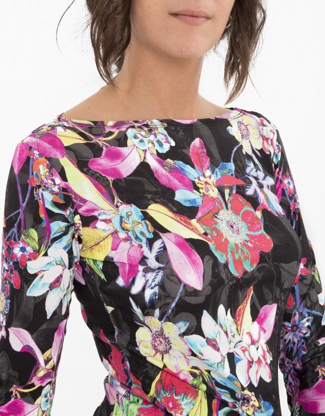 T-shirt à manches longues rose à fleurs