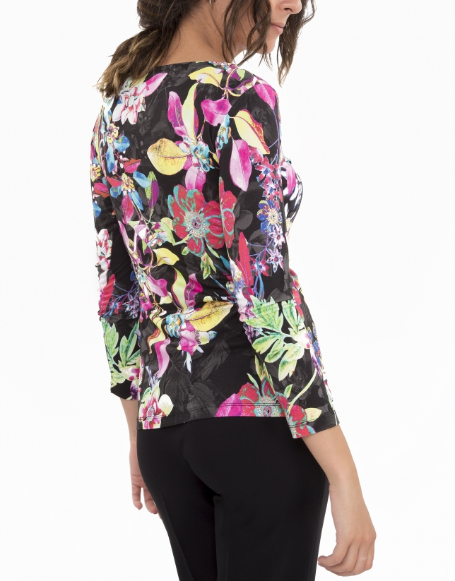 Pink floral print, long-sleeved top