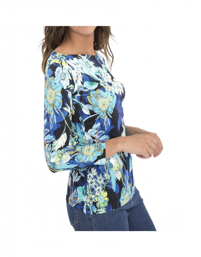 Blue floral print, long-sleeved top