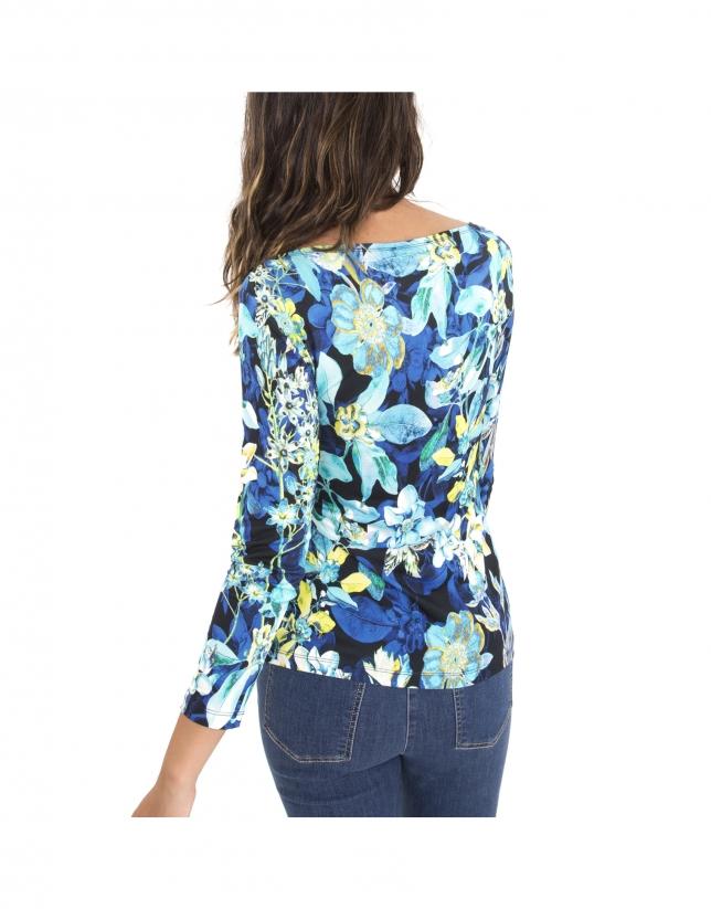 Camiseta manga larga flores azul