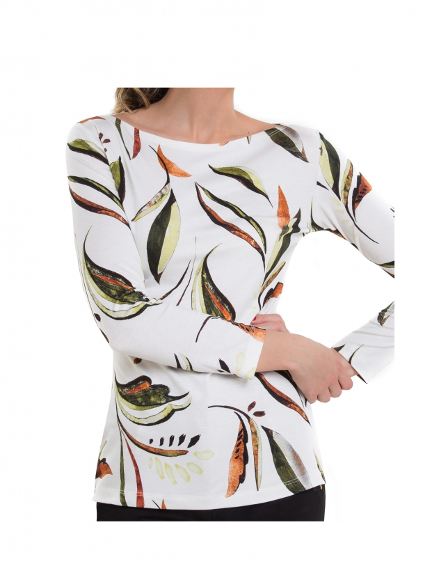 T-shirt à manches longues avec des feuilles en écru
