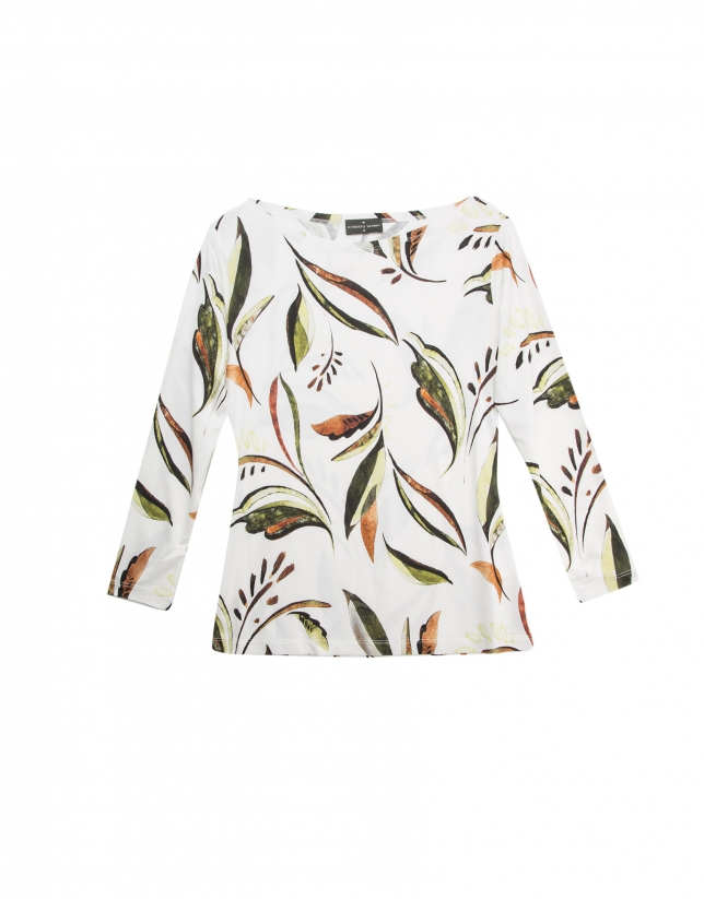 Beige leaf print, long-sleeved top