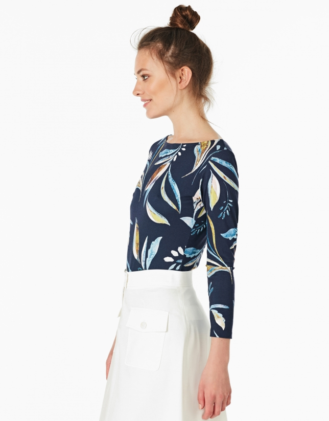 Blue leaf print, long-sleeved top