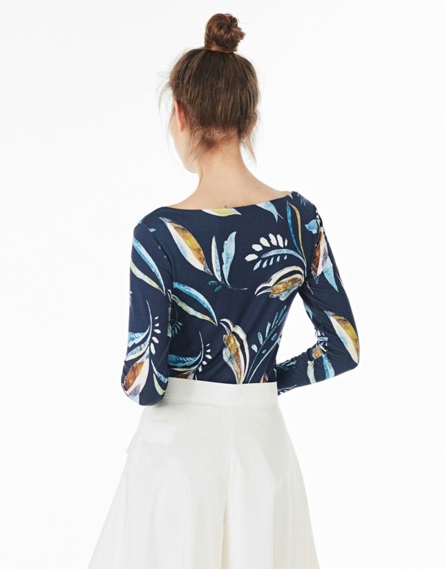 Camiseta manga larga hojas azul