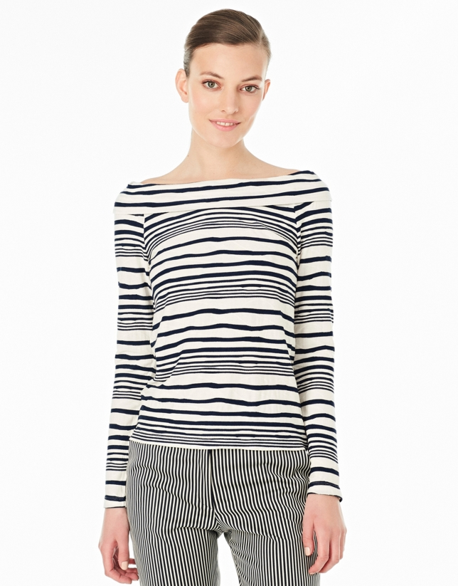 Blue striped top with boat neck