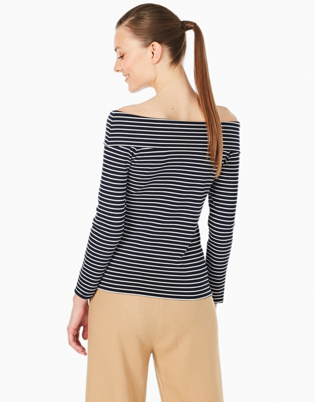 Navy blue and white striped top with boat neck