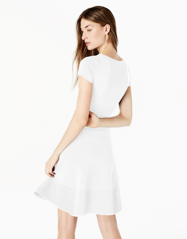 White knit dress with flounce