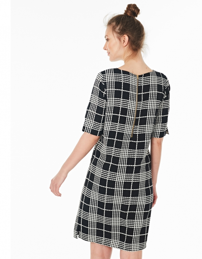 Navy blue checked dress