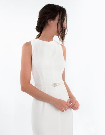 Vestido pespuntes blanco