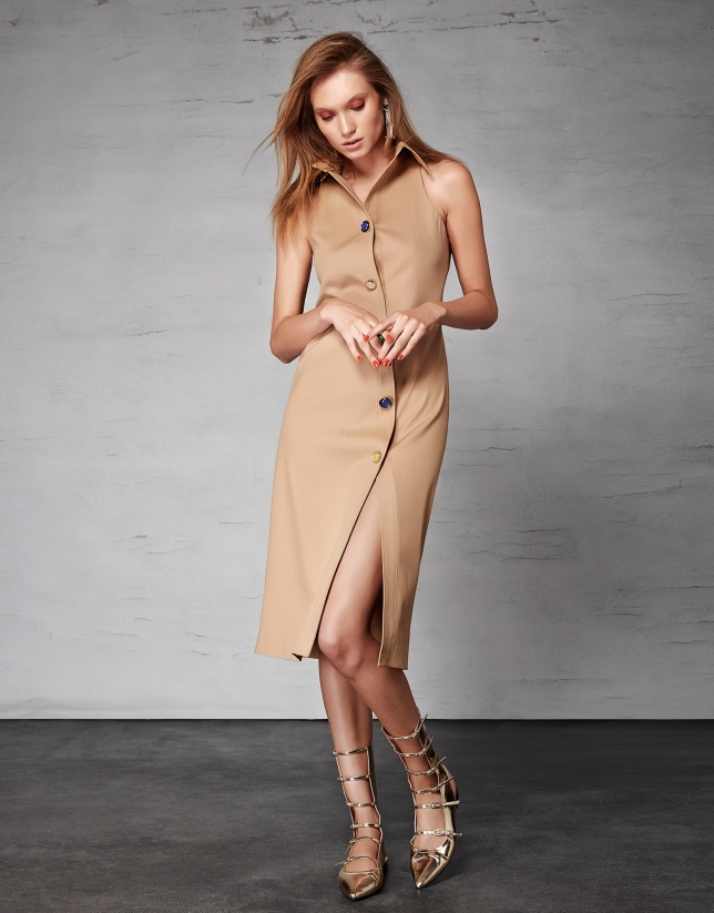 Camel sleeveless shirtwaist dress