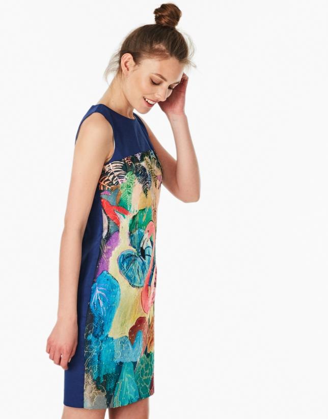 Vestido estampado fantasía azul