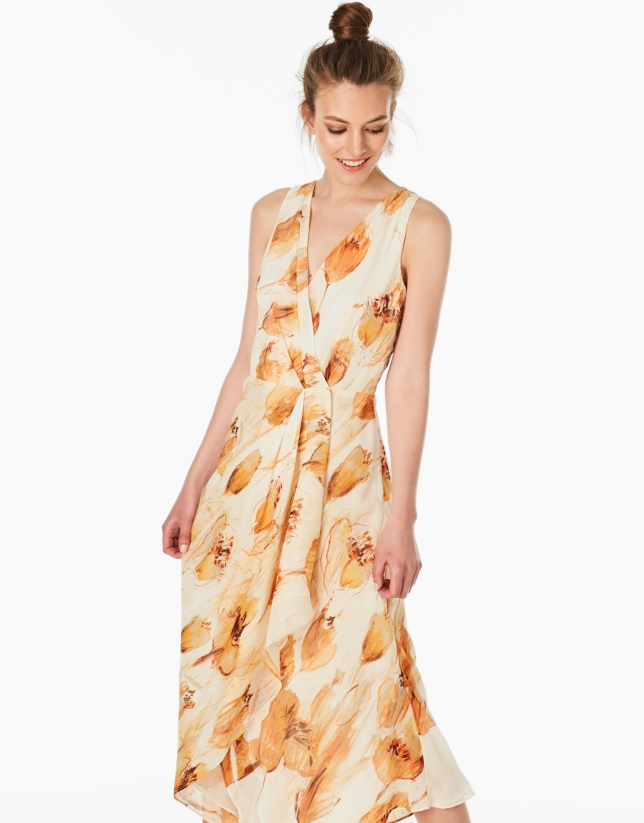 Vestido seda escote cruzado naranja