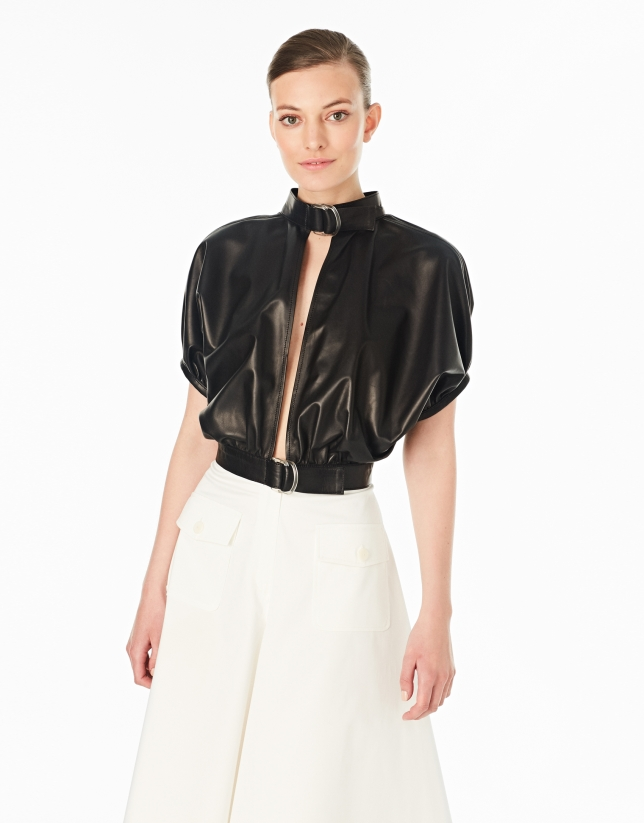 Black leather jacket with buckles