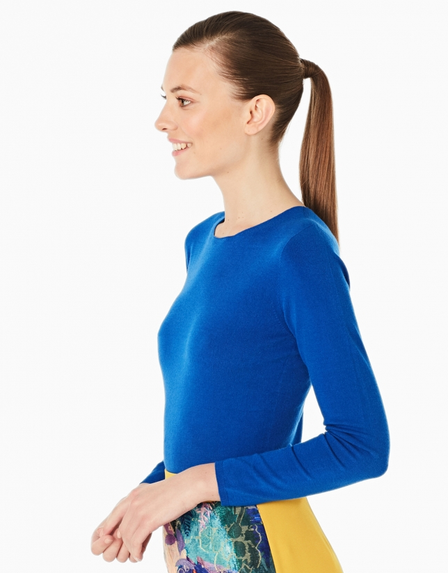 Cobalt blue sweater with square neck