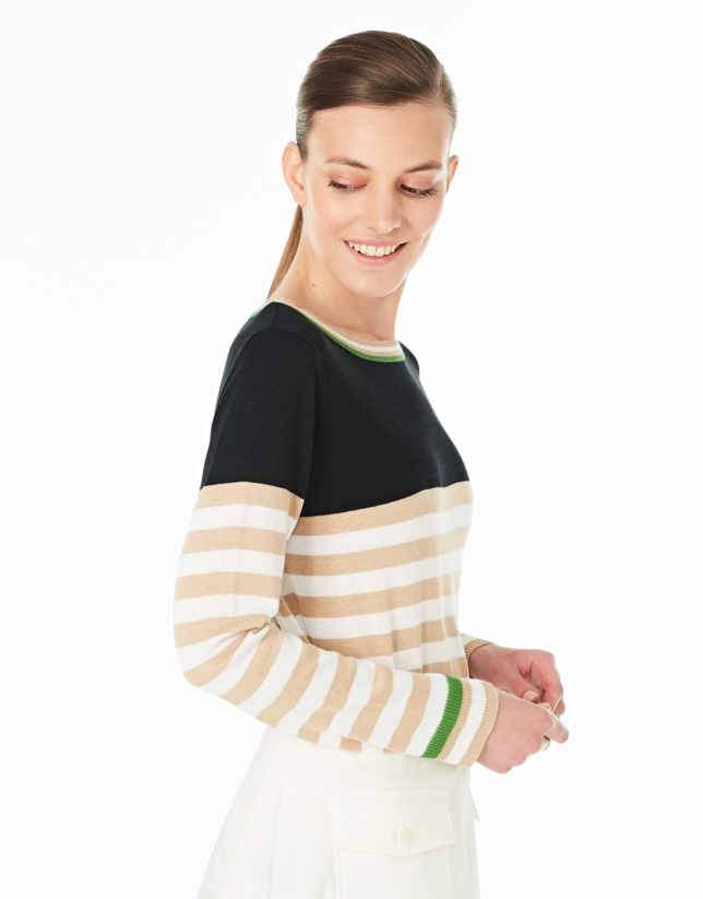 Hazelnut striped sweater with square neck