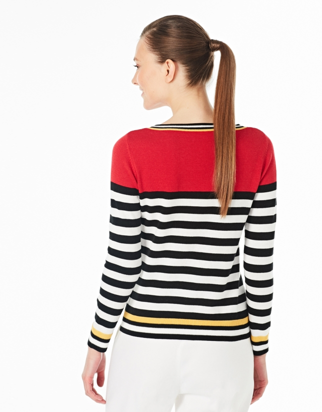 Red striped sweater with square neck
