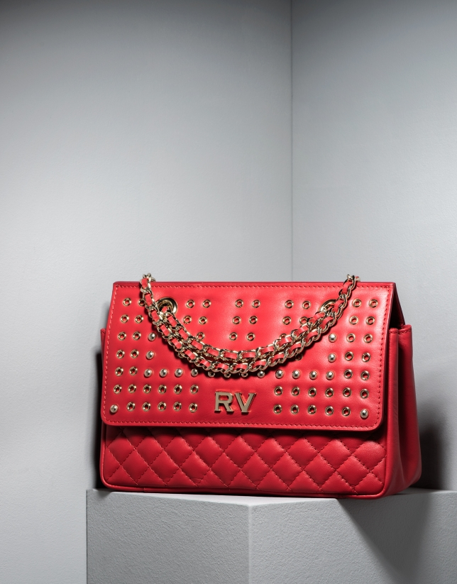Red Ghauri bag with metallic appliqué