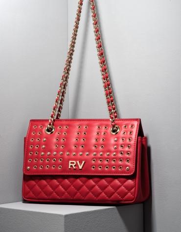 Red Ghauri bag with metallic appliqué