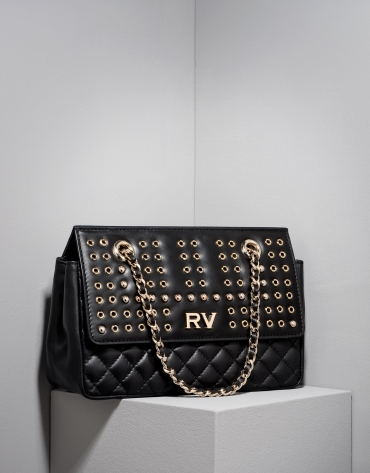 Black Ghauri bag with metallic appliqué