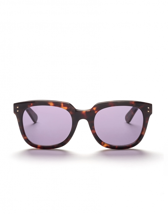 Brown tortoise square plastic sunglasses