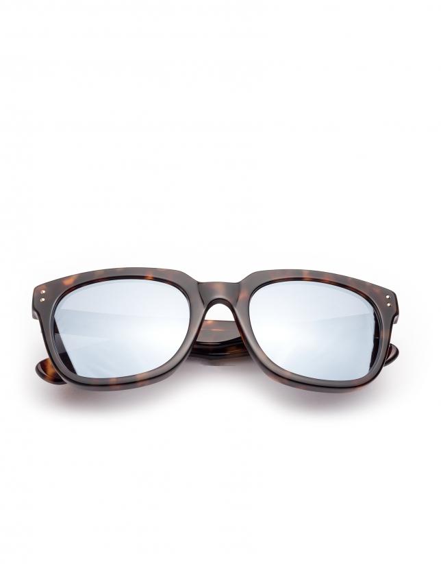 Lunettes de soleil en acétate écaille de tortue marron, verres à effet miroir