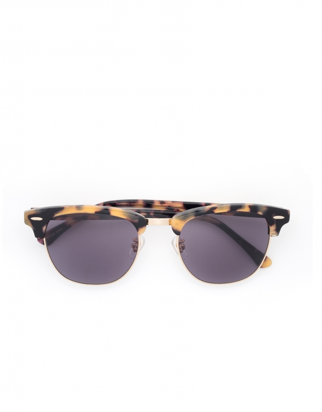 Yellow tortoise Retro sunglasses