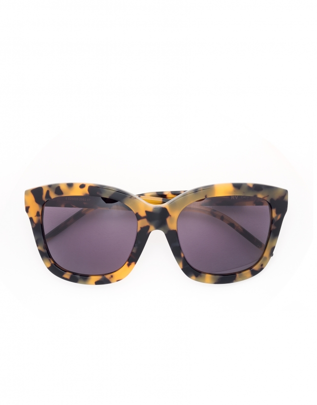 Grandes lunettes de soleil écaille de tortue jaune