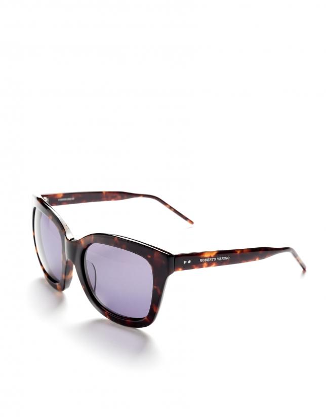 Grandes lunettes de soleil écaille de tortue marron