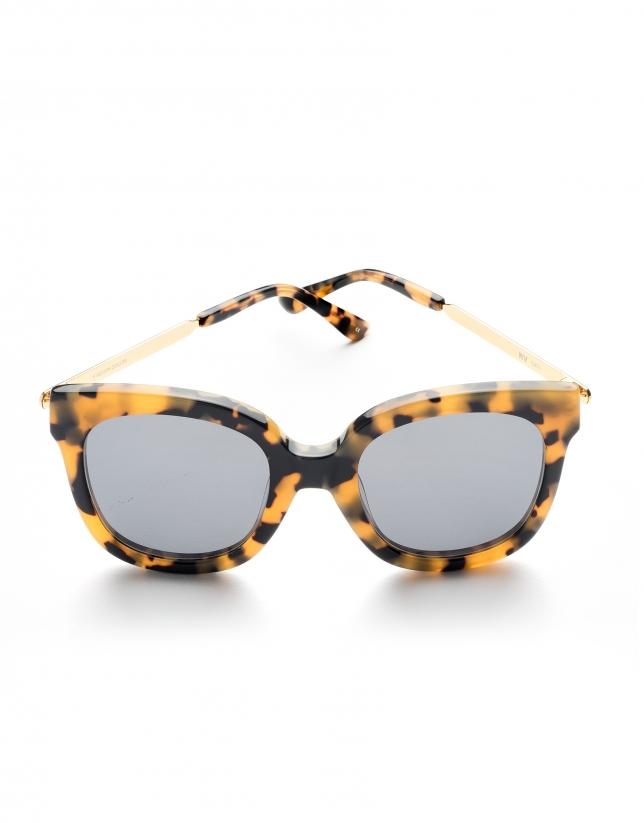 Gafas de sol pasta y metal amarillo tortuga