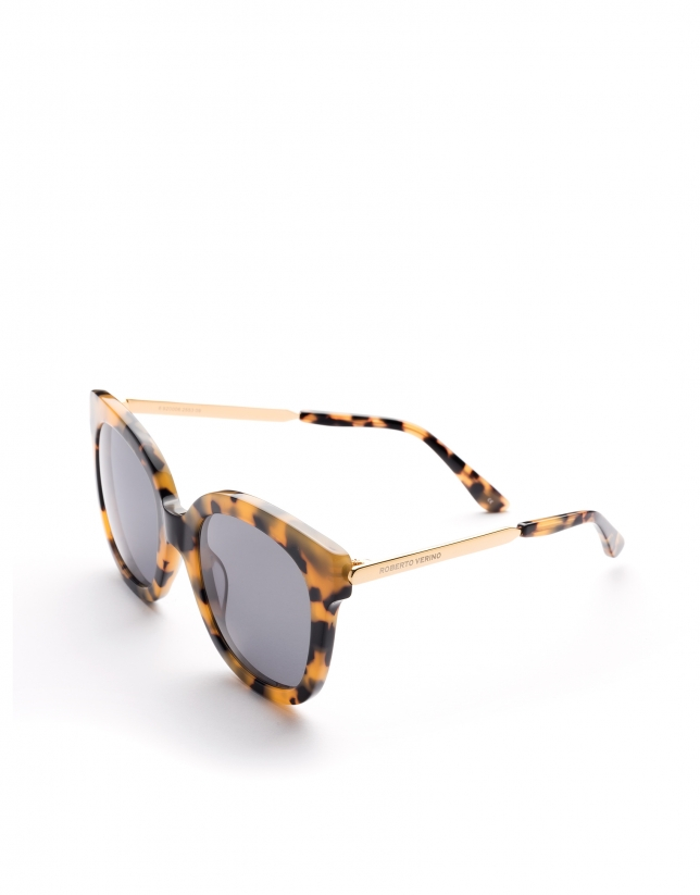Yellow tortoise plastic and metal frame sunglasses