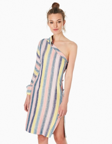 Multicolor striped asymmetric shirtwaist dress