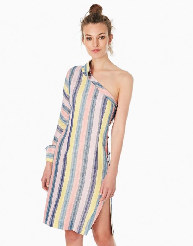 Robe-chemisier asymétrique multicolore à rayures
