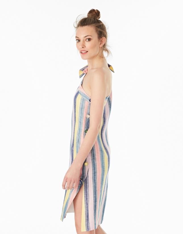 Multicolor striped asymmetric shirtwaist dress