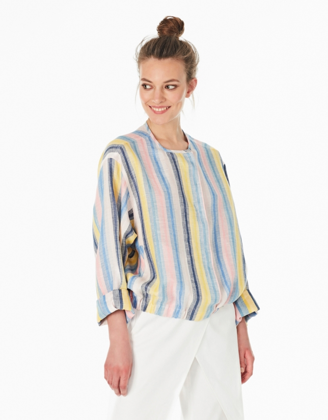Striped linen bomber jacket