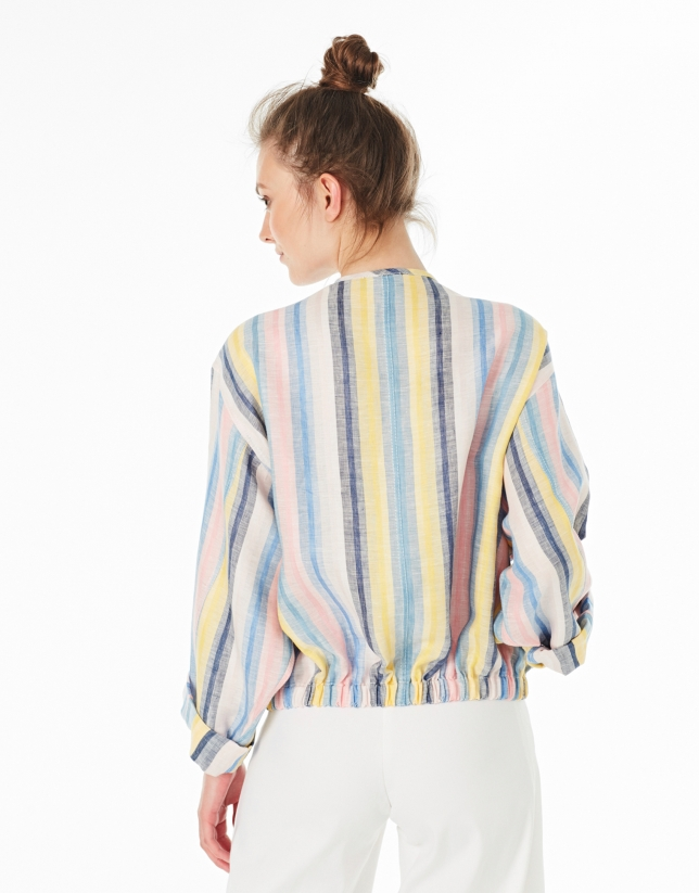 Striped linen bomber jacket