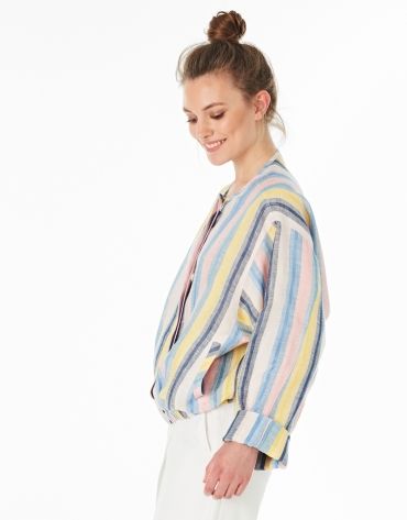 Multicolor striped linen bomber jacket