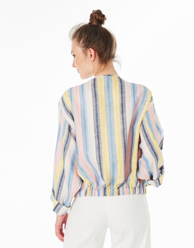 Multicolor striped linen bomber jacket