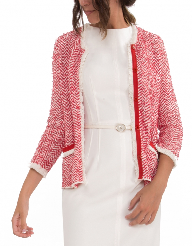 Azalea knit jacket with fringe