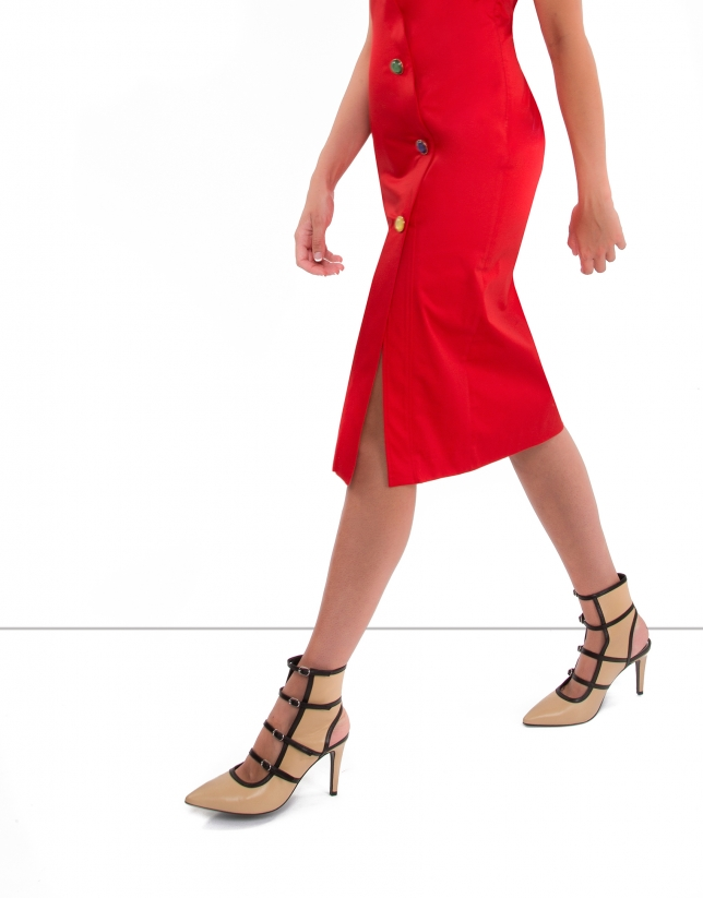 Red sleeveless shirtwaist dress