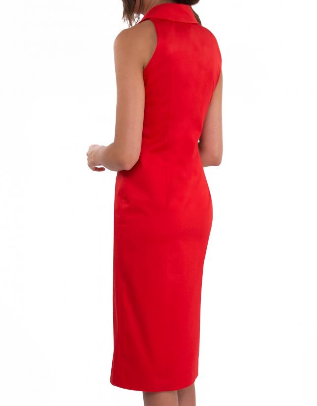Vestido camisero sin mangas rojo
