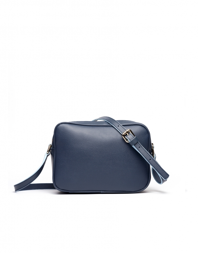 Navy blue Taylor leather shoulder bag | Roberto Verino